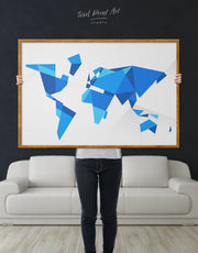 Framed Blue Abstract World Map Wall Art Canvas