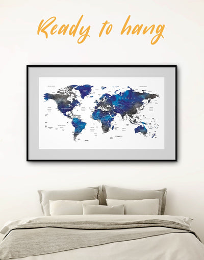 Framed Blue and Grey Map Wall Art Print - bedroom blue and gray wall art Blue wall art for living room framed map wall art framed print