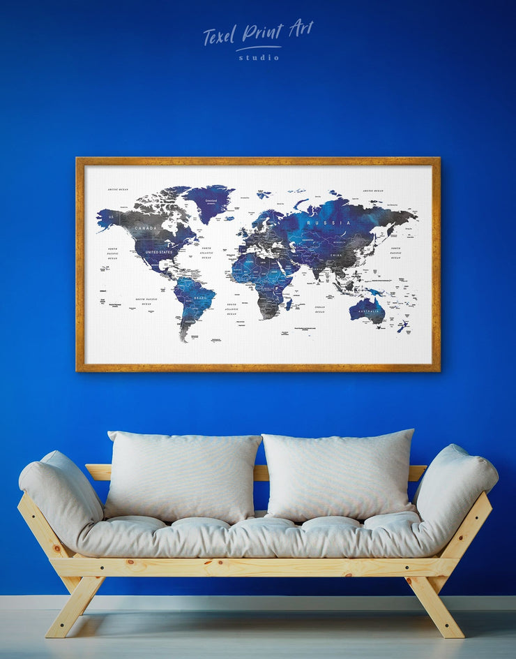 Framed Blue and Grey World Map Wall Art Canvas - bedroom blue and gray wall art Blue wall art for living room corkboard framed canvas