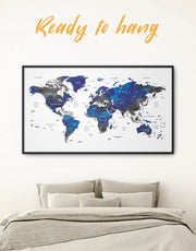 Framed Blue and Grey World Map Wall Art Canvas
