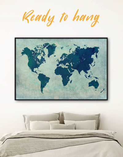 Framed Blue Hues World Map Wall Art Canvas - Abstract Abstract map bedroom Blue framed canvas