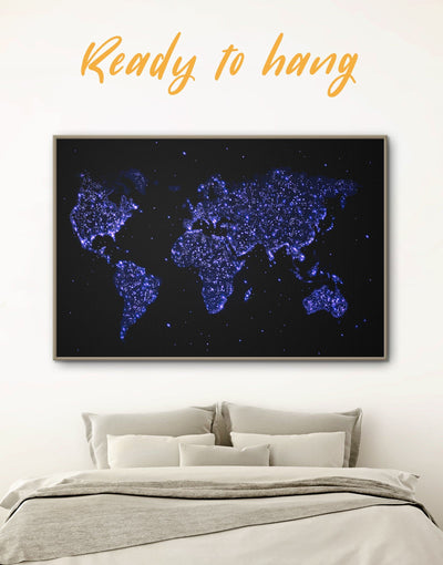 Framed Blue Lights World Map Wall Art Canvas - Abstract map black blue corkboard framed