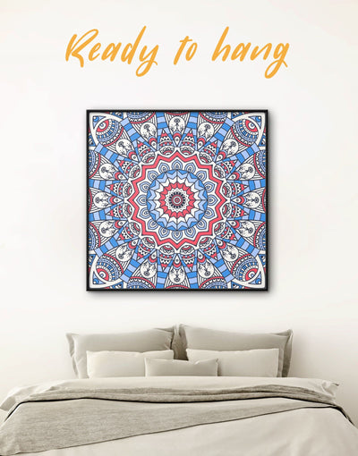Framed Blue Mandala Wall Art Canvas - Abstract bedroom Blue framed canvas Hallway