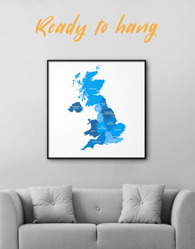 Framed Blue Map Of Great Britain Wall Art Canvas - bedroom Blue Country Map framed canvas Hallway