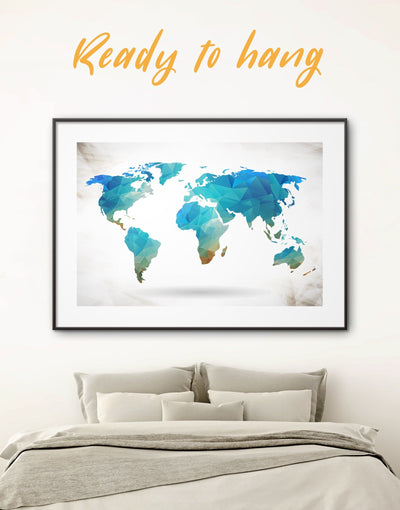 Framed Blue Map Wall Art Print - Abstract Abstract map abstract world map wall art bedroom Blue