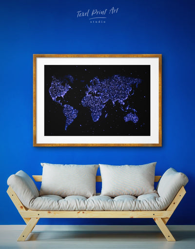 Framed Blue Minimalistic World Map Wall Art Print - Abstract map black blue framed map wall art framed print