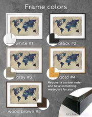 Framed Blue Rustic World Map Wall Art Print