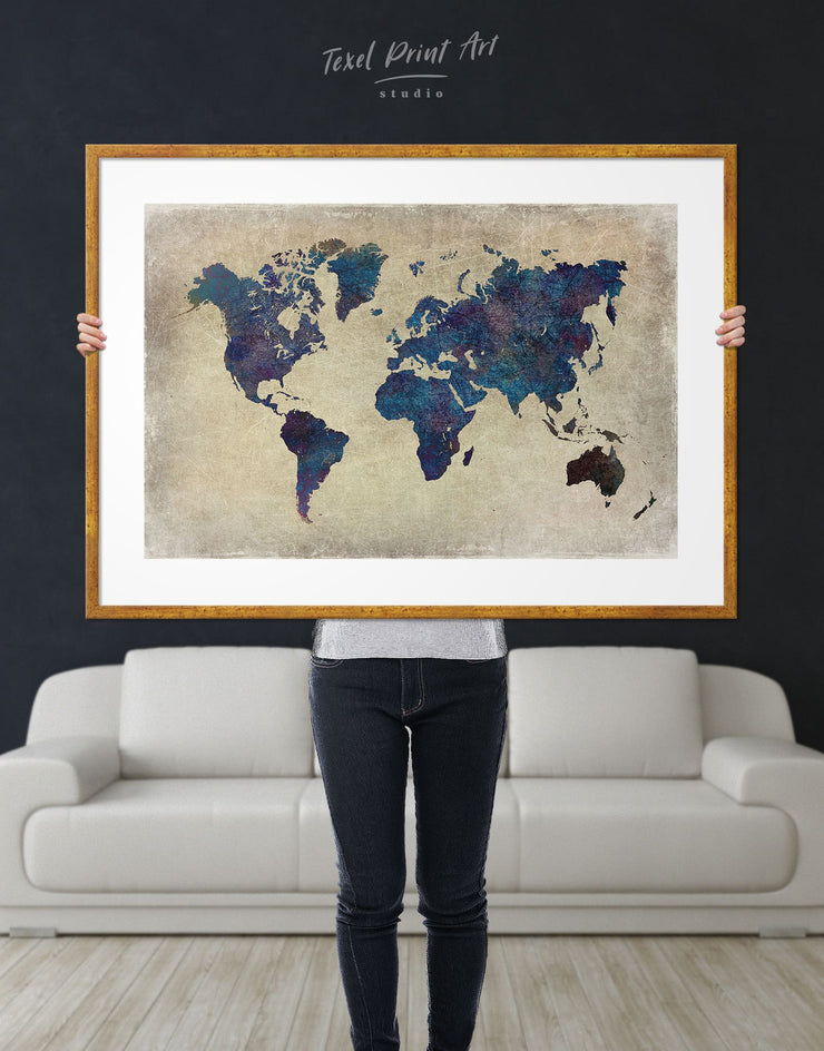 Framed Blue Rustic World Map Wall Art Print - Abstract Abstract map bedroom Blue framed print