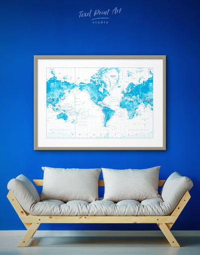 Framed Blue Travel World Map Wall Art Print - bedroom Blue blue and white Blue Wall Art blue wall art for bedroom