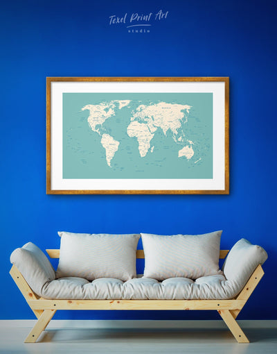 Framed Blue World Map Push Pin Wall Art Print - bedroom Blue blue and white Blue wall art for living room contemporary wall art