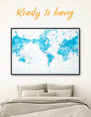 Framed Blue World Map with Push Pins Wall Art Canvas