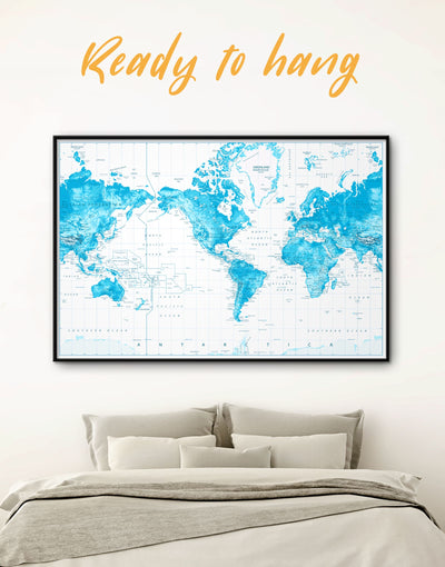 Framed Blue World Map with Push Pins Wall Art Canvas - bedroom Blue blue and white Blue Wall Art blue wall art for bedroom