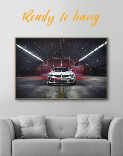 Framed BMW M4 Wall Art Canvas - bachelor pad Black Car framed canvas garage wall art