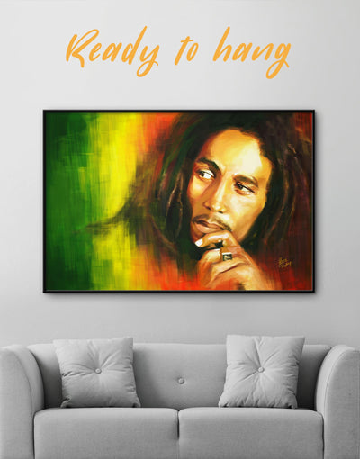 Framed Bob Marley Wall Art Canvas - bachelor pad bedroom framed canvas Hallway Living Room