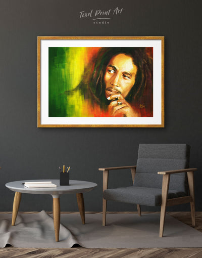 Framed Bob Marley Wall Art Print - bachelor pad bedroom framed print Hallway Living Room