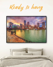 Framed Boston City Wall Art Canvas