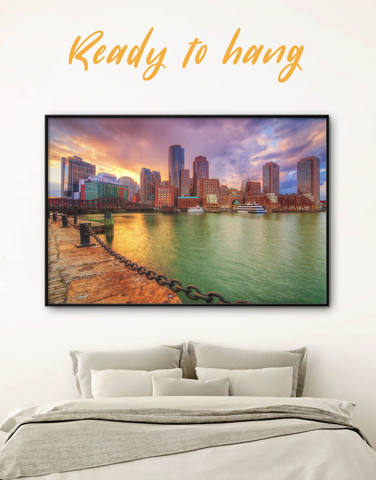 Framed Boston City Wall Art Canvas - bedroom Boston Cityscape Dining room framed canvas