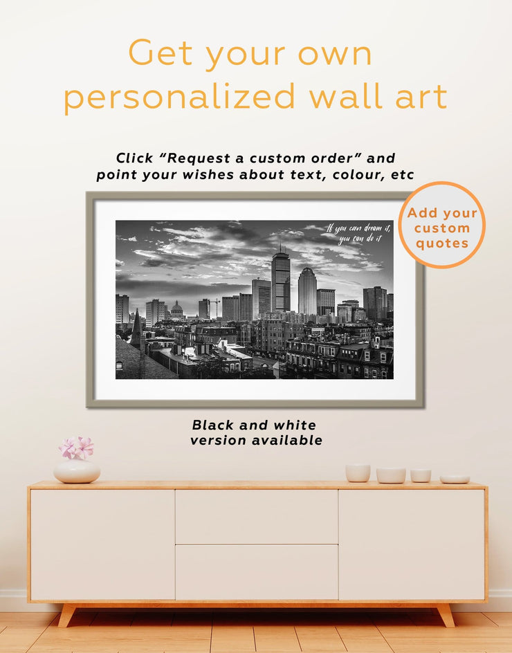 Framed Boston Cityscape Wall Art Print - Blue Boston City Skyline Wall Art Cityscape Dining room
