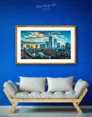 Framed Boston Cityscape Wall Art Print