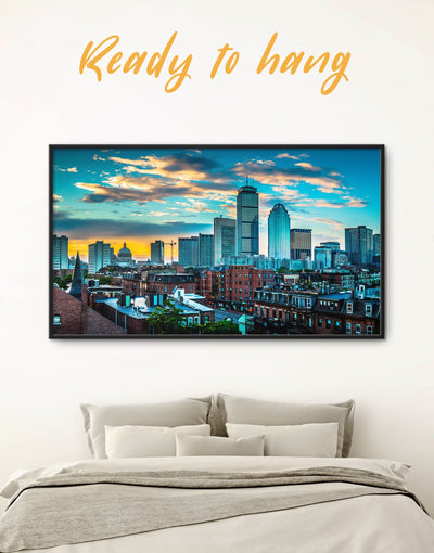 Framed Boston Wall Art Canvas - Blue Boston City Skyline Wall Art Cityscape Dining room