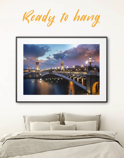 Framed Bridge Alexander III Paris Wall Art Print - bedroom Bridge Cityscape framed print framed wall art