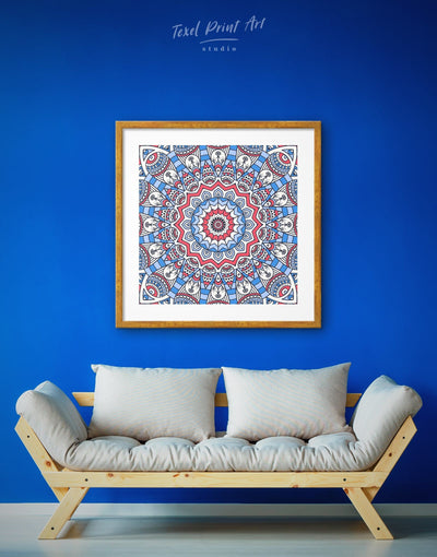Framed Bright Mandala Wall Art Print - Abstract bedroom Blue framed print Hallway