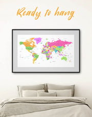 Framed Bright Travel World Map Wall Art Print