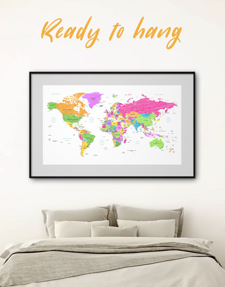 Framed Bright Travel World Map Wall Art Print - bedroom contemporary wall art framed framed map wall art framed print