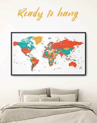 Framed Bright World Map With Pins Wall Art Canvas - framed canvas framed world map canvas green Living Room Office Wall Art