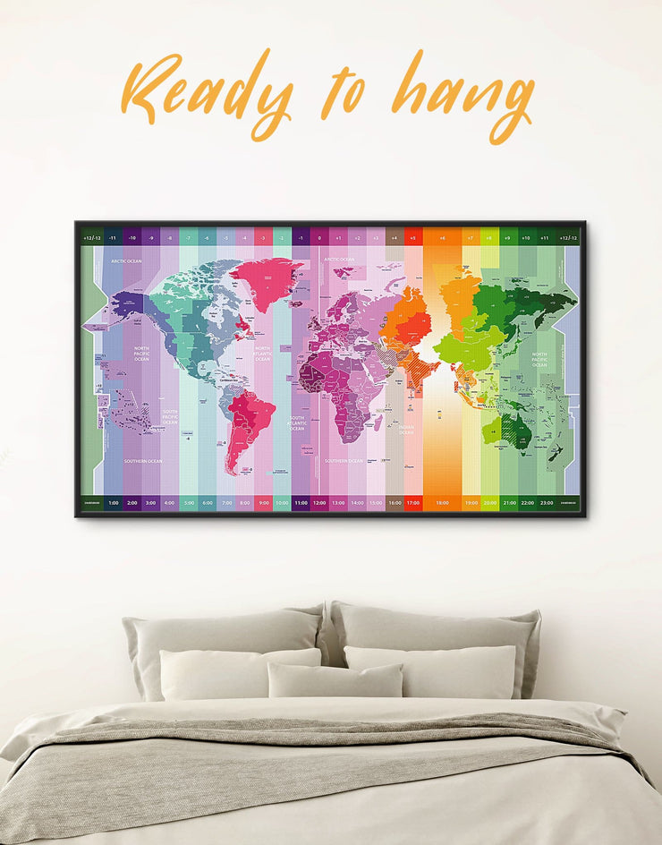Framed Bright World Time Zone Map Wall Art Canvas - Abstract Abstract map Contemporary framed canvas framed world map canvas