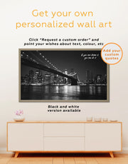 Framed Brooklyn Bridge at Night Wall Art Canvas