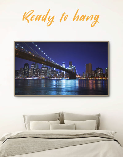 Framed Brooklyn Bridge at Night Wall Art Canvas - bedroom Blue blue wall art for bedroom Blue wall art for living room Bridge