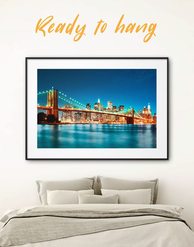 Framed Brooklyn Bridge at Night Wall Art Print - bedroom Blue Blue wall art for living room Bridge Brooklyn bridge wall art