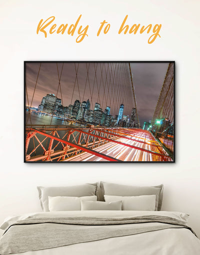 Framed Brooklyn Bridge New York Wall Art Canvas - bedroom Bridge Brooklyn bridge wall art City Skyline Wall Art Cityscape