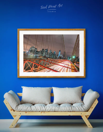 Framed Brooklyn Bridge Wall Art Print - bedroom Bridge Brooklyn bridge wall art City Skyline Wall Art Cityscape
