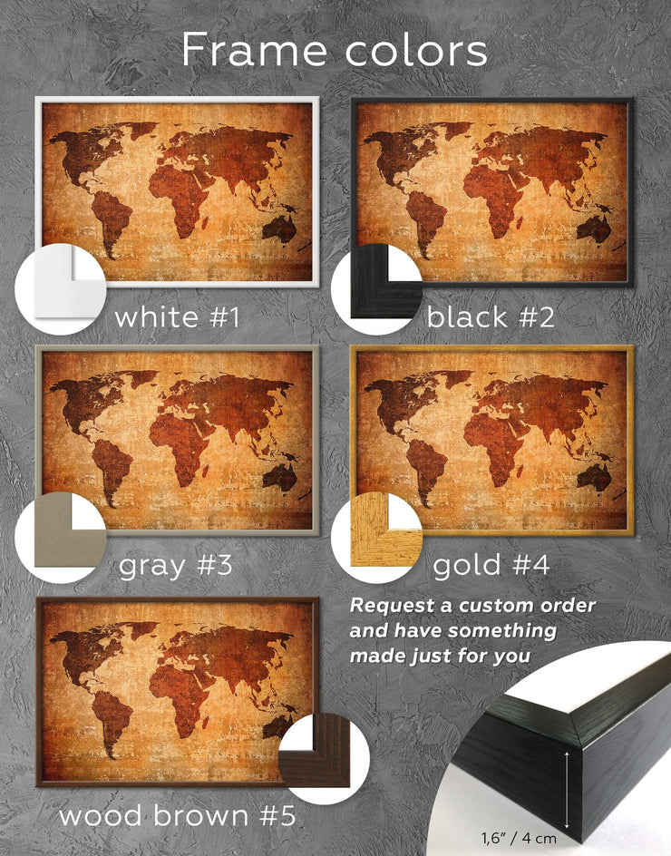 Framed Brown Abstract World Map Wall Art Canvas - Abstract Abstract map bedroom Brown framed