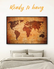 Framed Brown Abstract World Map Wall Art Canvas