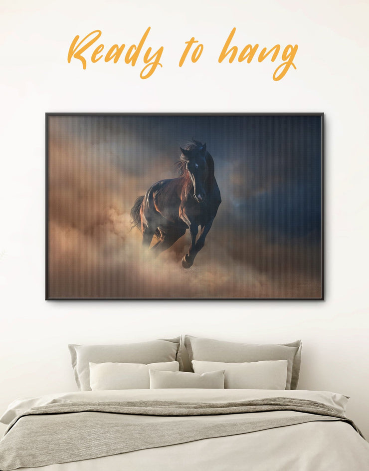 Framed Brown Horse Wall Art Canvas - Animal bedroom Farmhouse framed canvas horse wall art
