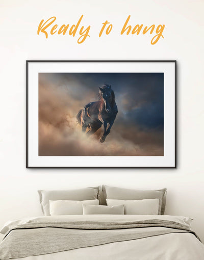 Framed Brown Horse Wall Art Print - Animal bedroom Farmhouse framed horse wall art framed print