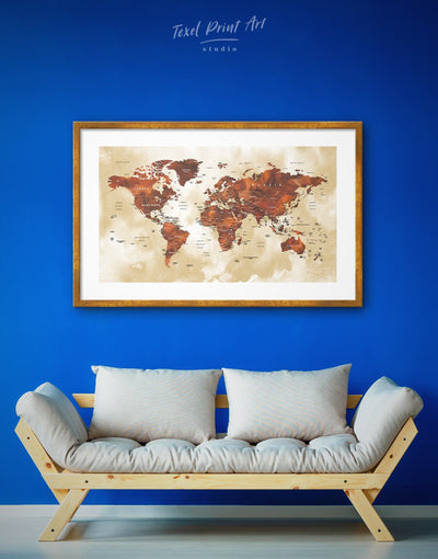 Framed Brown Push Pin Travel Map Wall Art Print - bedroom Brown brown framed wall art contemporary wall art framed