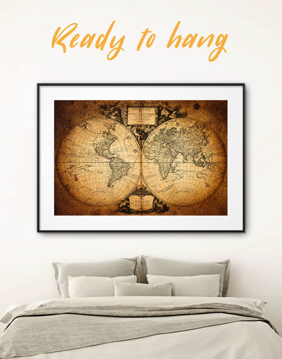 Framed Brown World Map Wall Art Print - Antique world map canvas bedroom Brown double hemisphere world map framed print