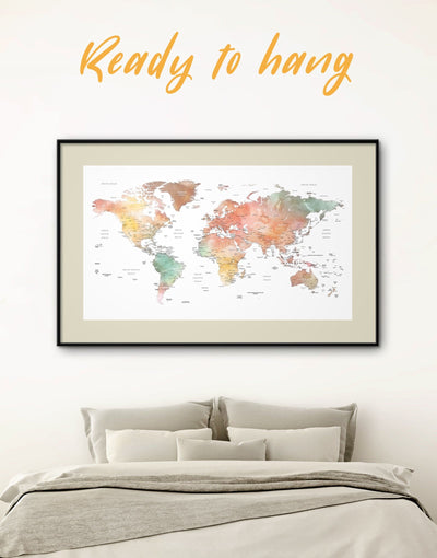 Framed Brown World Map Wall Art Print - Brown brown framed wall art framed print framed world map print Labeled world map