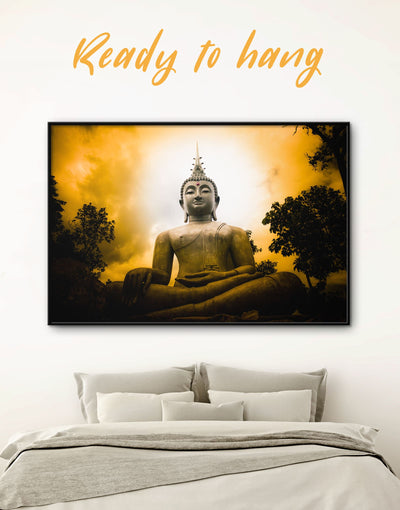 Framed Buddha Statue Wall Art Canvas - bedroom Black Buddha wall art buddhist wall art framed canvas