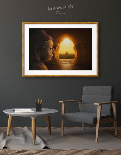 Framed Buddha Wall Art Print - bedroom Brown Buddha wall art buddhist wall art framed print