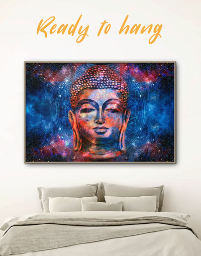Framed Buddhism Wall Art Canvas - bedroom Blue Buddha wall art buddhist wall art framed canvas