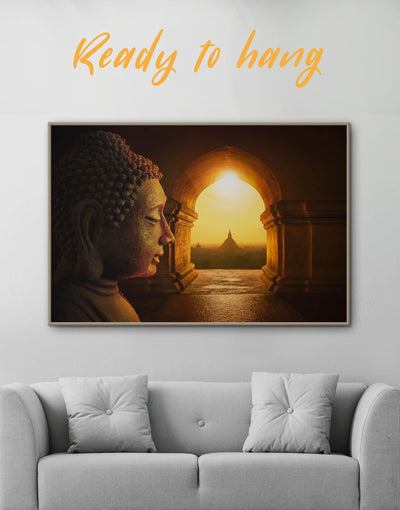 Framed Buddhist Wall Art Canvas - bedroom Brown Buddha wall art buddhist wall art framed canvas