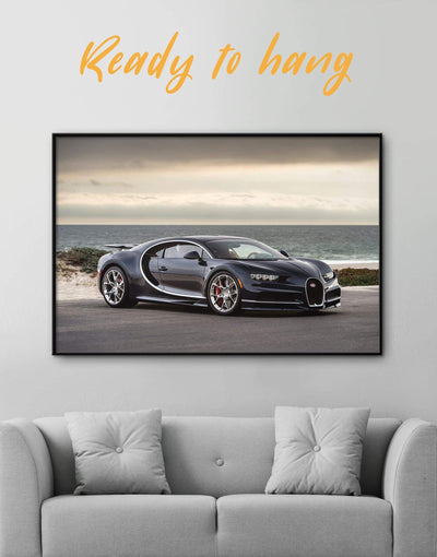 Framed Bugatti Chiron Wall Art Canvas - bachelor pad car framed canvas garage wall art race car wall art