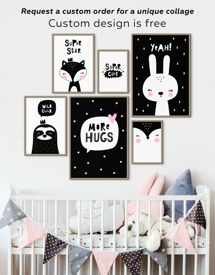 Framed Bunny Nursery Art Canvas - Canvas Wall Art Black black and white framed canvas Kids room kids wall art