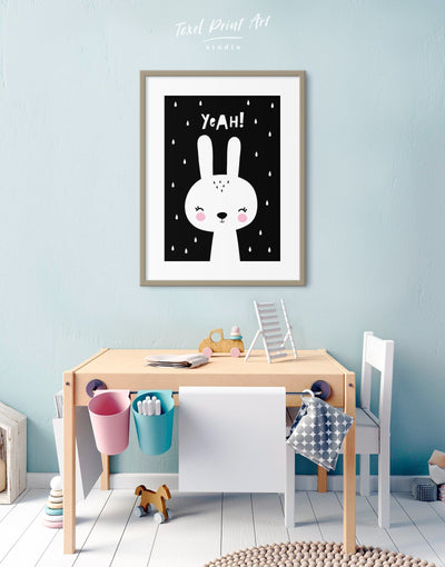 Framed Bunny Nursery Art Print - Wall Art black black and white framed print Kids room kids wall art