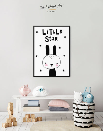 Framed Bunny Wall Art Canvas - Canvas Wall Art Black black and white framed canvas Kids room kids wall art